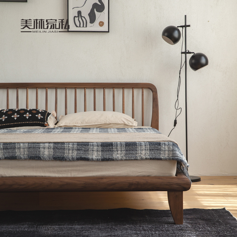 Nordic solid wood black walnut bed Japanese modern oak bed 1.8m double bed small apartment bedroom furniture