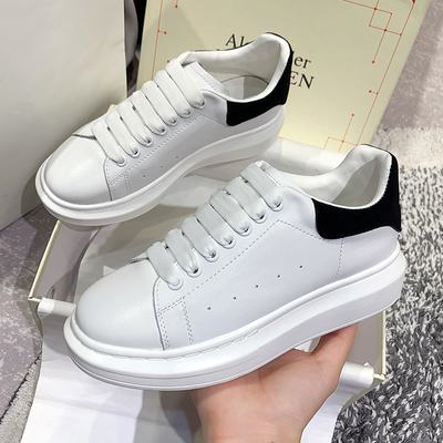 Yuan Shan same paragraph McQueen all-match white shoes 21 spring and summer models of mesh men and women models leather thick-soled shoes for lovers