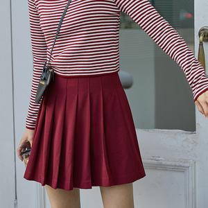 高腰显瘦百褶裙女秋季新款港味a字半身裙短裙学院风,女装半身裙,苏格服饰