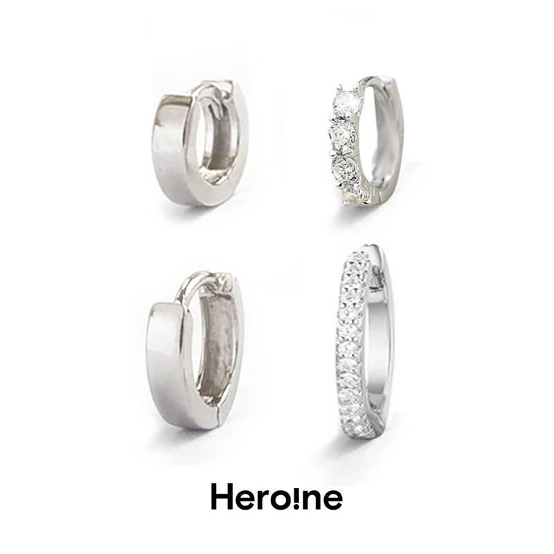 Genuine S925 Sterling Silver Earbone with ear hole and ear buckle, personalized punk style simple jewelry, earrings and Earrings
