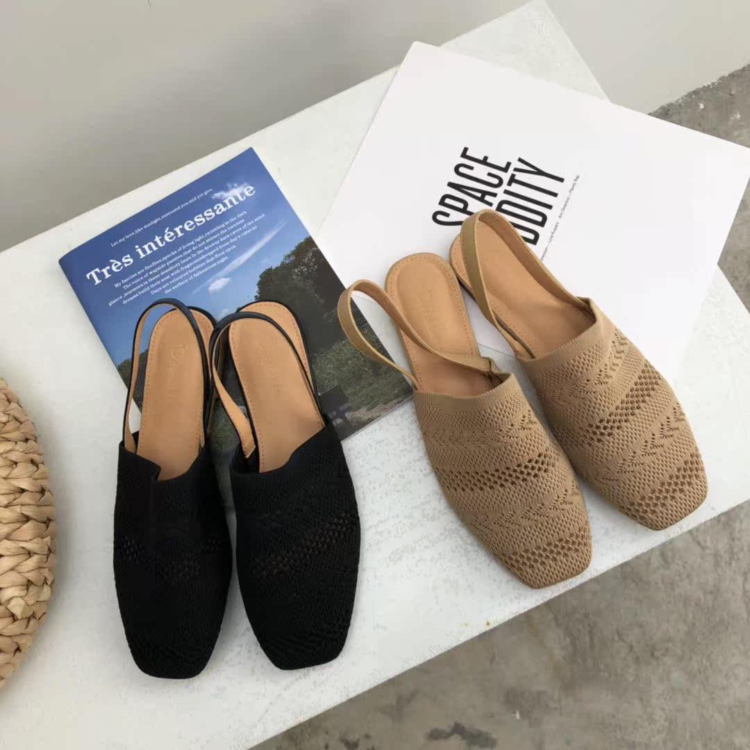 2018夏季新品韩国风飞织弹力包头镂空后绊带凉鞋方头平跟套脚女鞋