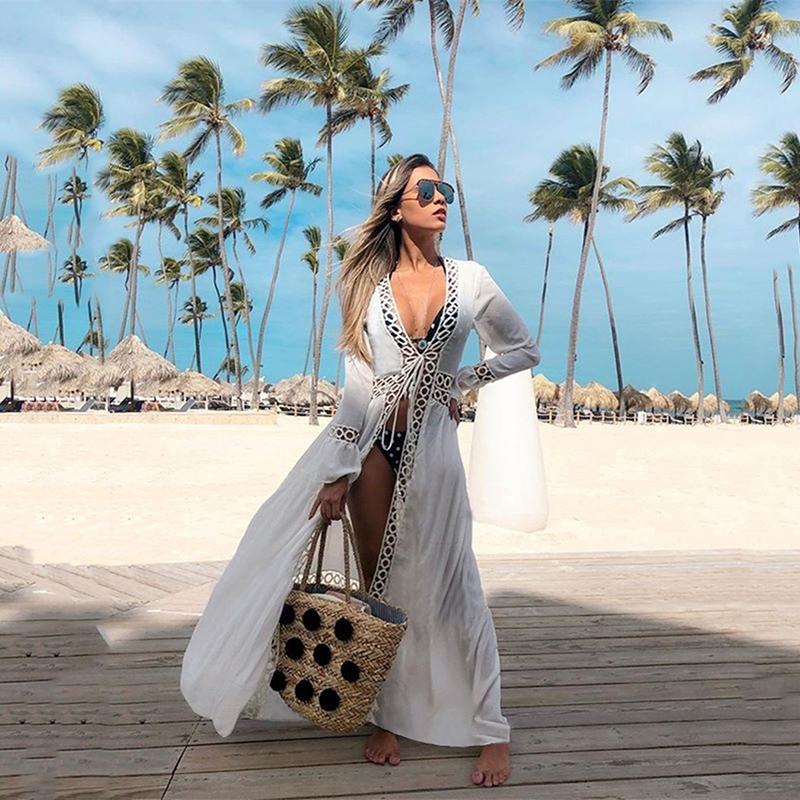 Amazonの新型の多くのリングレースのカーディガンの日よけの服のビーチジャケットの水着のビキニの外でブラウスの女性を掛けます。