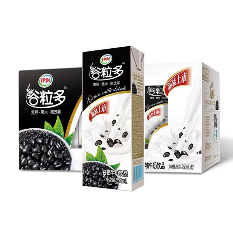伊利穀粒多黑穀苗條裝穀物牛奶早餐奶250ml^~12盒整箱