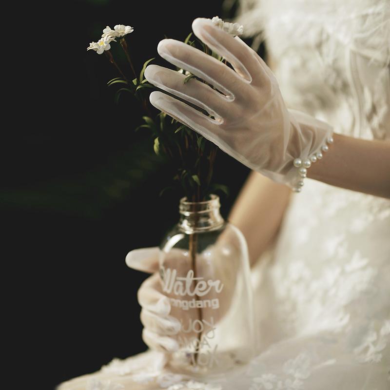 结婚礼服婚纱婚庆婚礼婚纱手套短款新娘白色珍珠结婚手套超仙原创