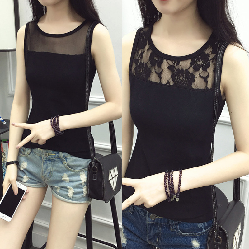 2020 new summer mesh sleeveless sexy lace bottomed shirt with cotton and slim fit large suspender vest for women