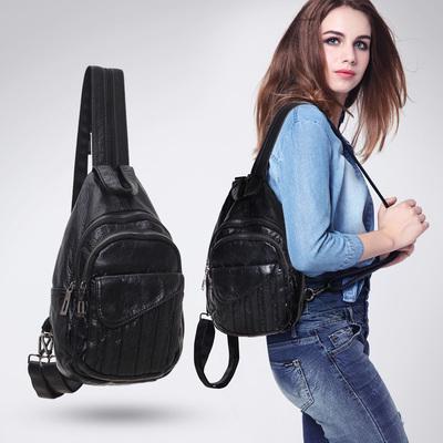 2020新款潮女士胸包 欧美时尚双肩包休闲 软皮小背包简约斜挎小包