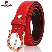 皮尔卡丹品牌皮带女士腰带真皮时尚休闲简约百搭针扣裤带细款大红