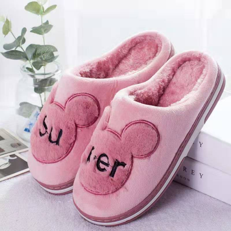 Warm cotton slippers womens lovely thick bottom package root anti slip Korean autumn and winter lovers indoor home Plush moon shoes