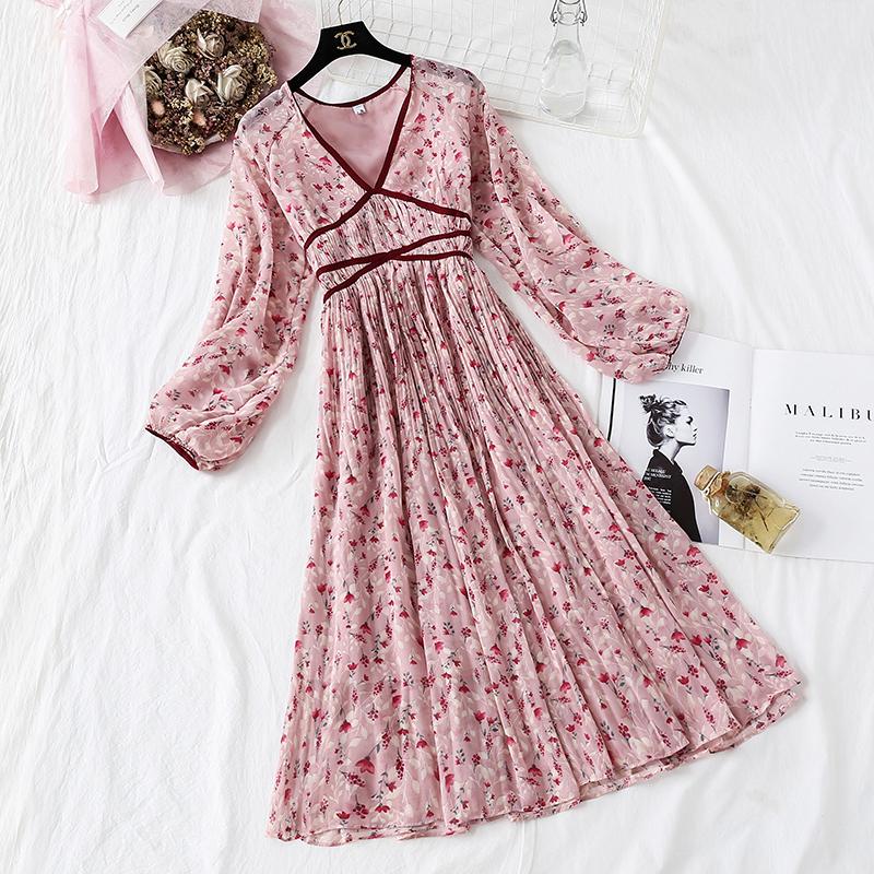 树莓粉碎花雪纺2019新款夏长裙子满69元可用5元优惠券