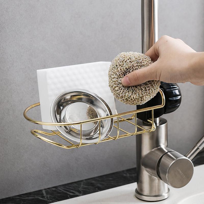 限4000张券鹿谷川ins浴室水龙头沥水置物架厨房用品挂架水槽海绵抹布沥水架