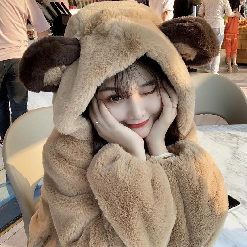 毛绒可爱外套小熊耳朵冬季2021年新款女兔毛毛茸软妹仿羊羔毛皮草