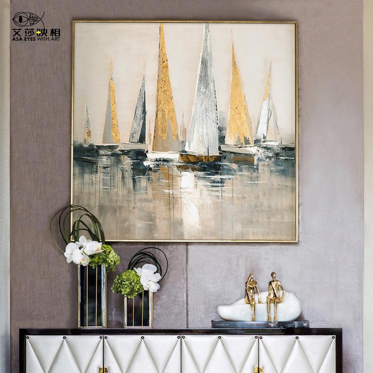定制餐厅走廊挂画玄关画当代简约轻奢客厅抽象装饰画艾莎手绘油画