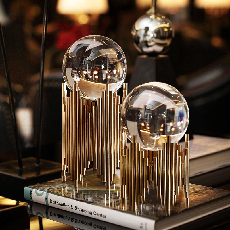 水晶球摆件创意北欧现代轻奢家居样板间客厅玄关电视柜酒柜装饰品(非品牌)