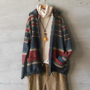 秋冬新品斯琴风格文艺范可脱卸帽厚款针织条纹宽松毛衣外套针织衫