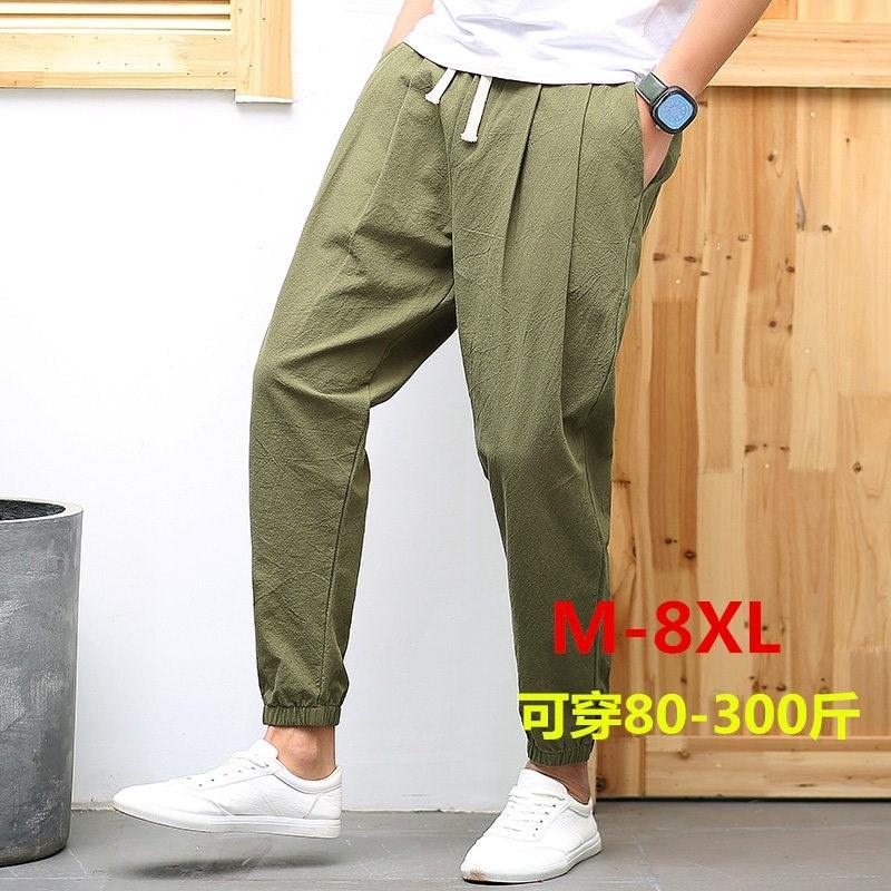 78.42元包邮夏季男士亚麻宽松直筒夏裤休闲裤