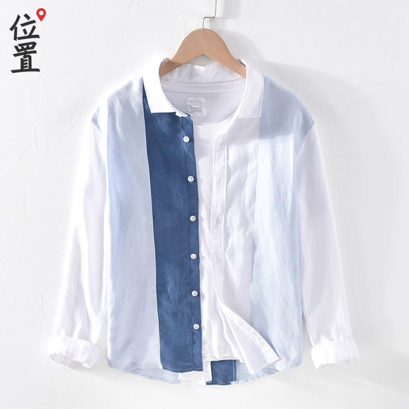 Linen long sleeve inch shirt mens splicing trend 2020 linen mens shirt careful machine top design feeling hemp