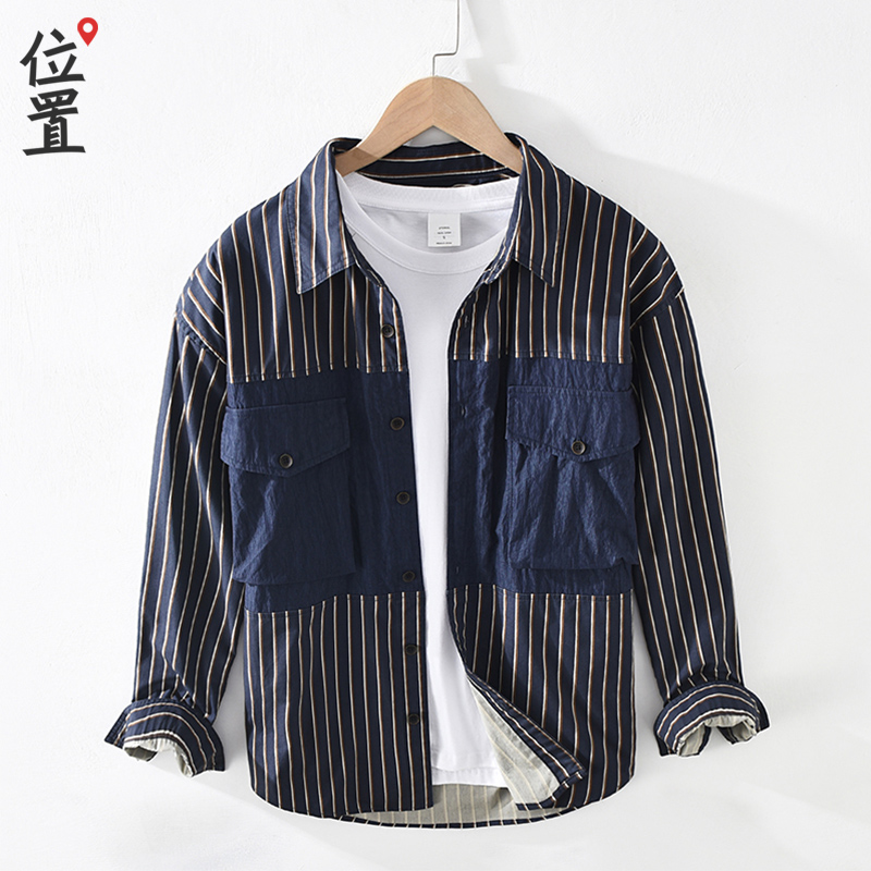 Vertical stripe shirt mens long sleeve fashion brand tooling splicing youth handsome loose 2021 spring new mens shirt