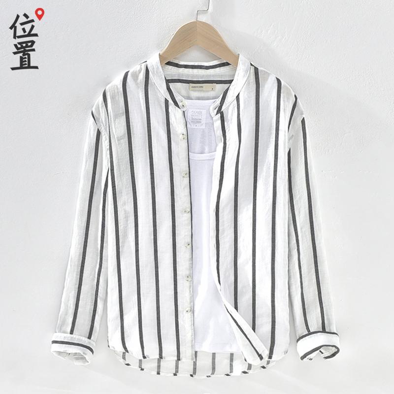 春季竖条纹男士衬衫韩版潮流亚麻小立领衬衫男长袖圆领男装衬衣