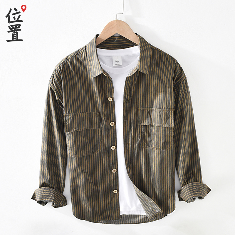 Vertical stripe tooling shirt mens coat youth fashion brand Japanese retro 2021 spring new long sleeve mens shirt