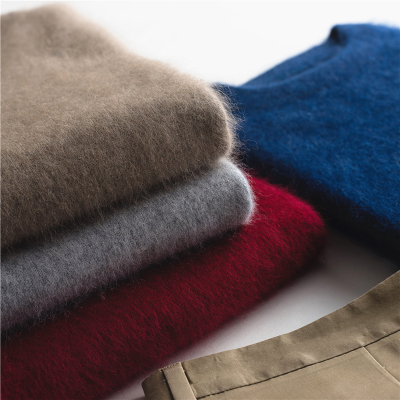 Cashmere sweater mens crew neck thickened mink sweater Pullover winter loose sweater solid color oversized mink sweater