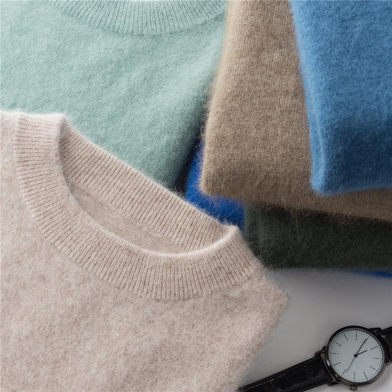秋冬款羊绒衫男圆领加厚纯色套头貂绒毛衣宽松休闲大码打底羊毛衫