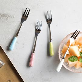 出口日本原单水果叉珍珠叉糖果色多色儿童餐具艳丽点心叉小叉13CM图片