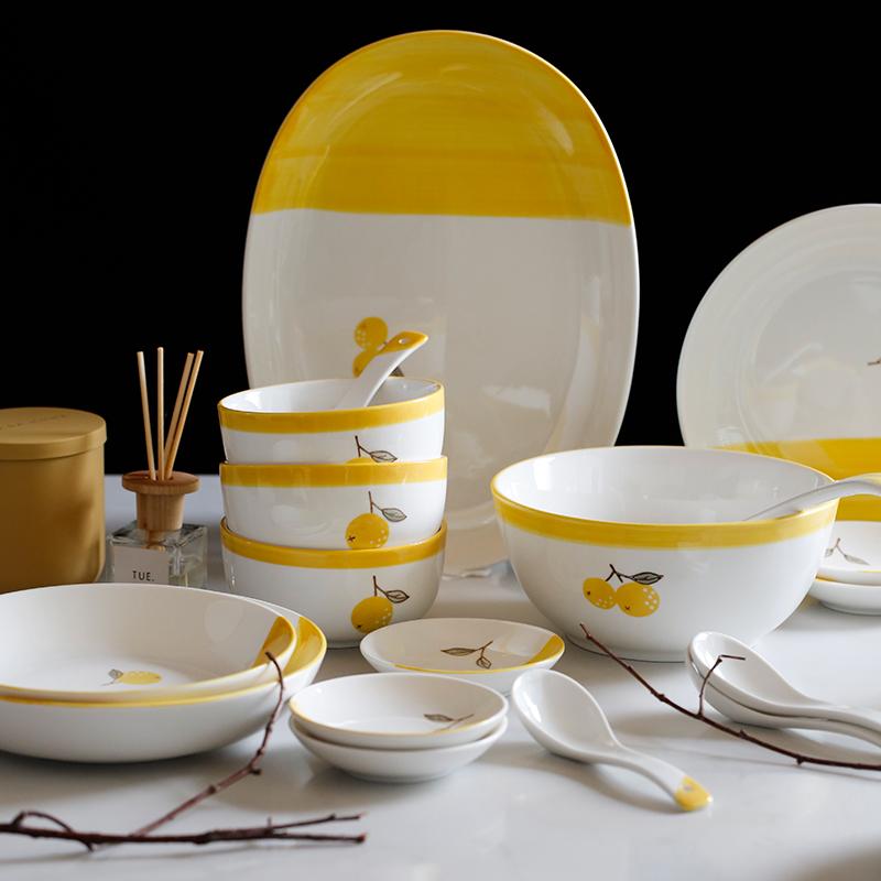 蓝莲花餐具碗碟套装汤勺盘子组合深盘陶瓷家用吃饭碗味碟汤碗鱼盘满13.80元可用6.9元优惠券