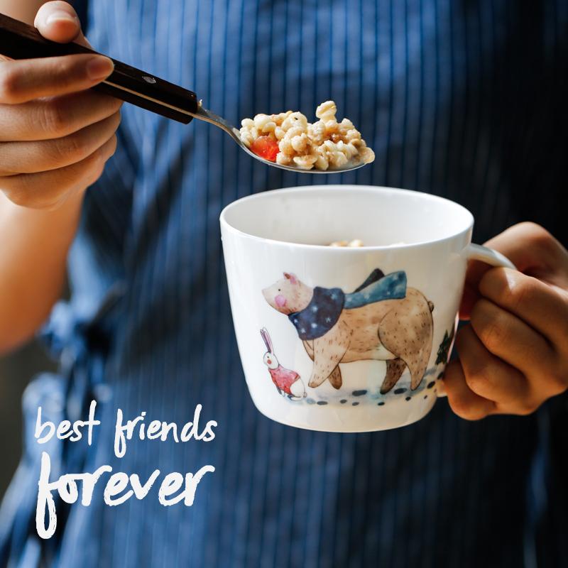 蓝莲花好朋友系列熊与兔子马克杯麦片杯创意陶瓷骨瓷家用大容量