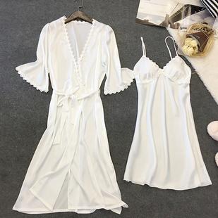 睡裙女夏季冰絲小性感吊帶薄款帶胸墊可外穿兩件套真絲綢春秋睡衣