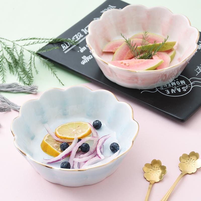 不包邮陶瓷水果沙拉碗可爱ins碗创意网红个性饭碗家用好看1个甜品碗餐具