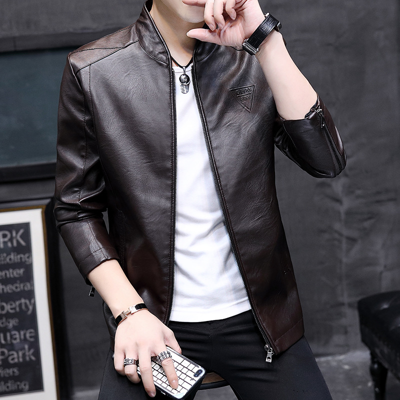 Korean locomotive mens leather jacket autumn and winter mens handsome stand collar casual coat autumn mens fashionable leather jacket