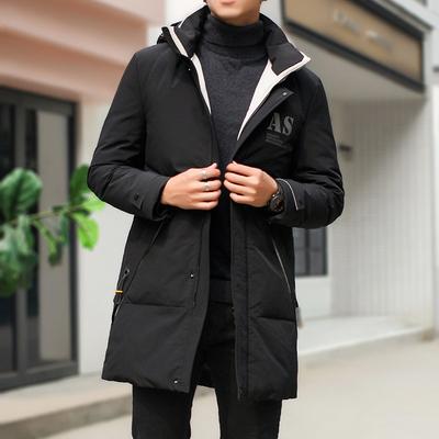 19冬季男士中长款羽绒服连帽可卸帽90%白鸭绒QT6019-8801P320
