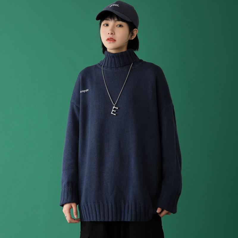 中性风男女情侣纯色高领百搭套头打底衫毛衣针织衫线衣 MY10-P45