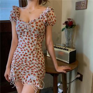 FS91011# 韩版chic性感设计感洋气女团风飘带碎花连衣裙 服装批发女装直播货源