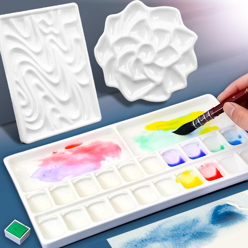 水彩盘20格陶瓷调色格大小号波浪形水彩颜料调色盒便携板美术画材 Изображение 1
