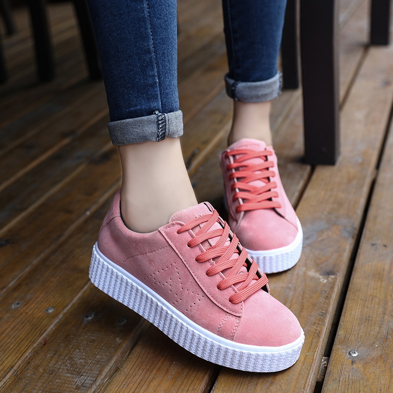 2016 Корейский осень женский толстой подошве платформы обувь с плоские туфли замшевые кроссовки туфли удобные студенческие прилива