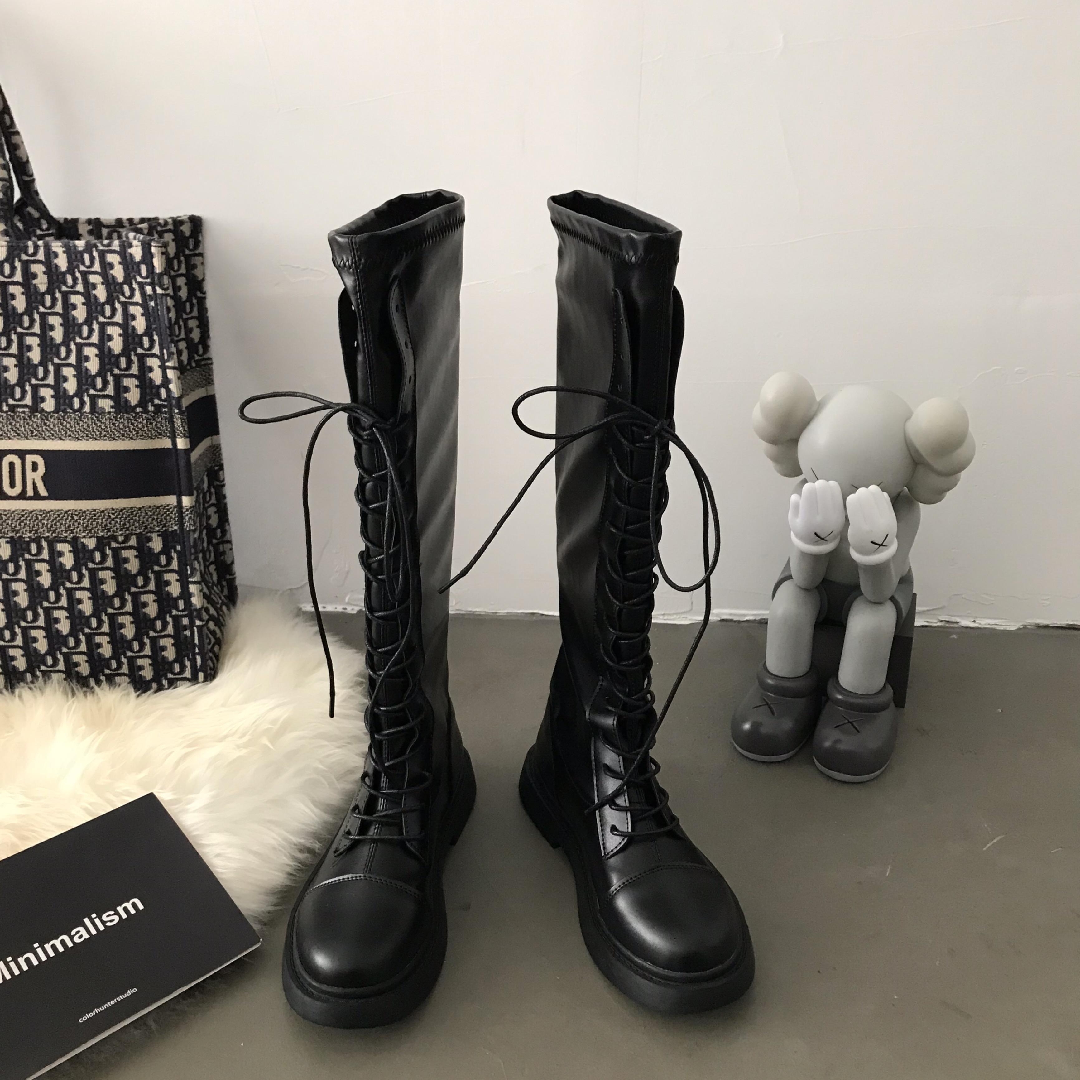 小sun家韩版马丁靴ins女2021英伦长靴高筒骑士靴子冬季加绒黑色潮