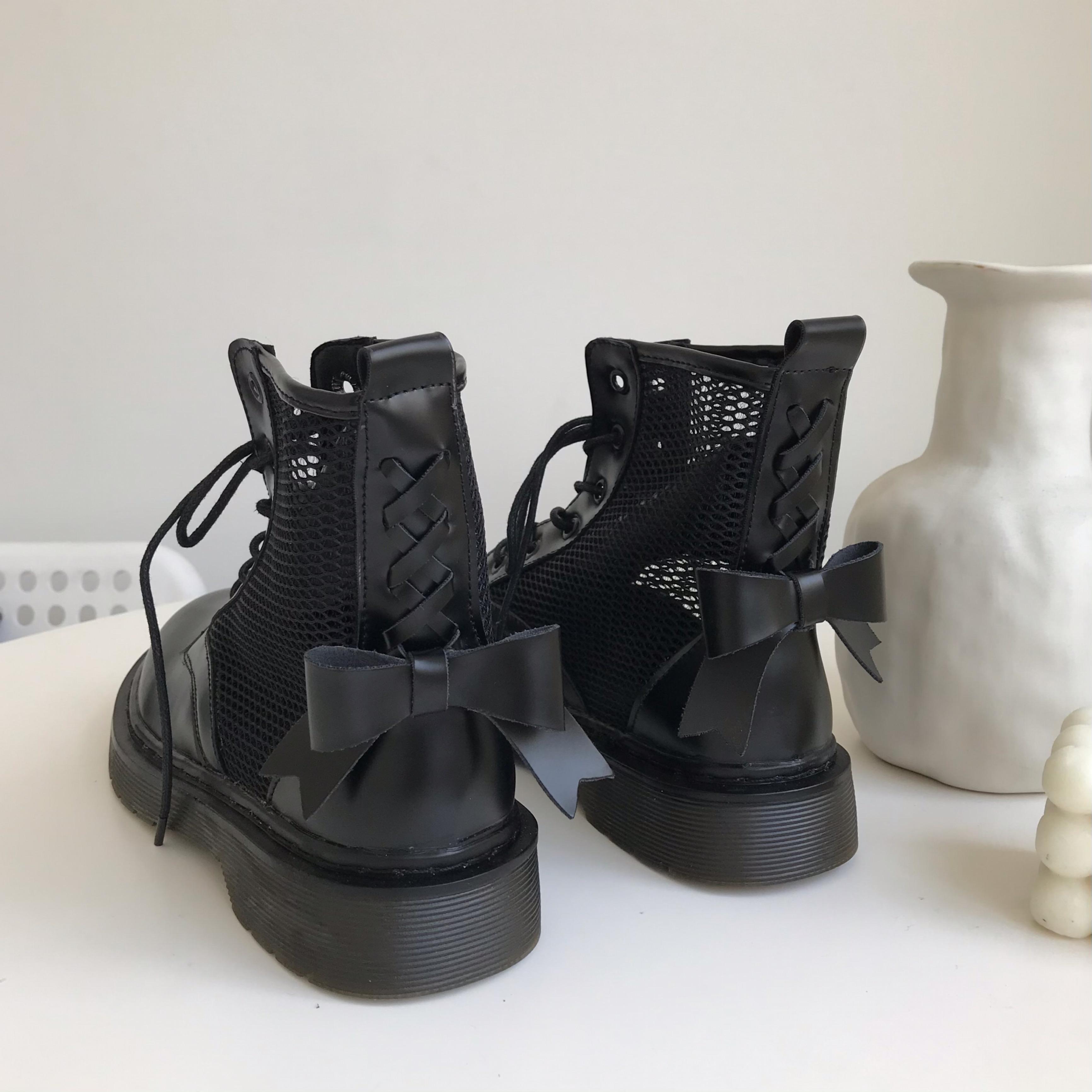 小sun家 ins黑色马丁靴夏季薄款蝴蝶结女网纱短靴英伦风新款靴子