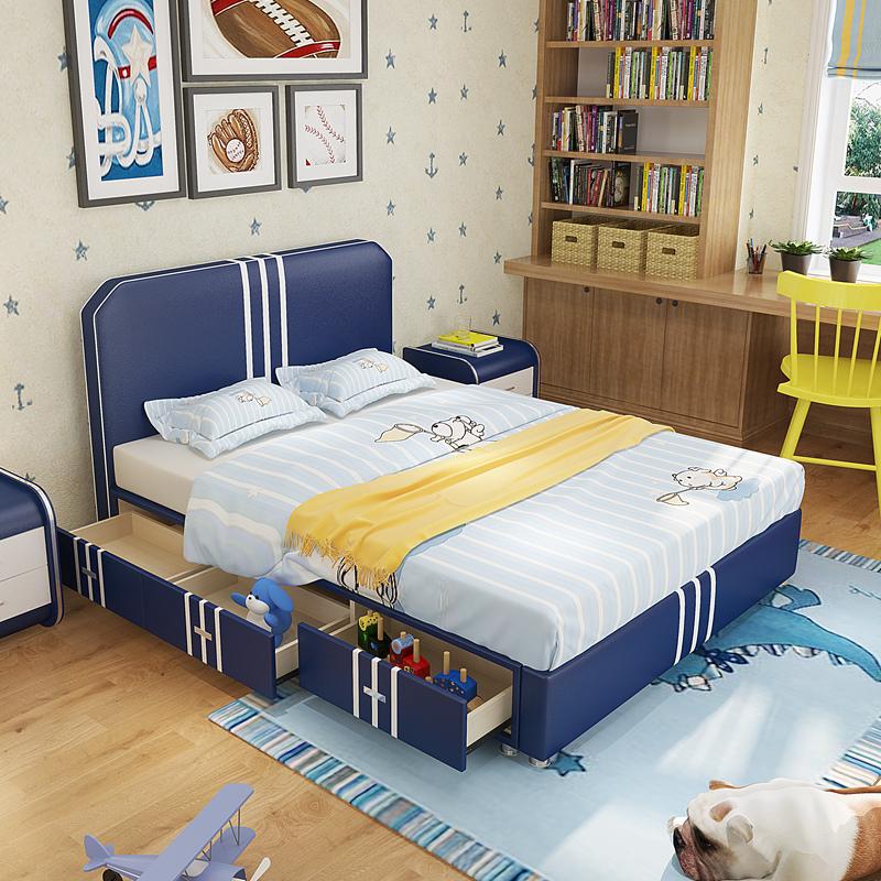 子供用ベッド男子シングルベッド1.5 m青少年漫画1.2 m真皮ベッドエアトレーン引出しベッドセット