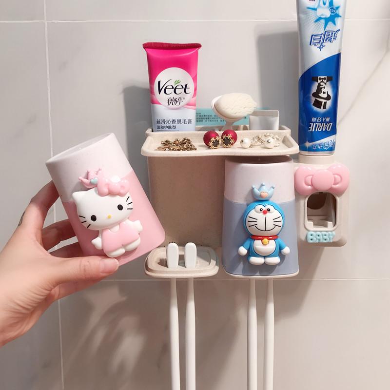 限5000张券卡通KT猫卫生间壁挂式吸壁牙刷架套洗漱架牙刷杯置物架儿童漱口杯