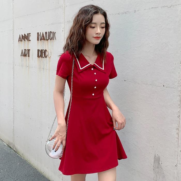 小个子连衣裙2019新款夏气质polo领修身显瘦a字收腰赫本小红裙女