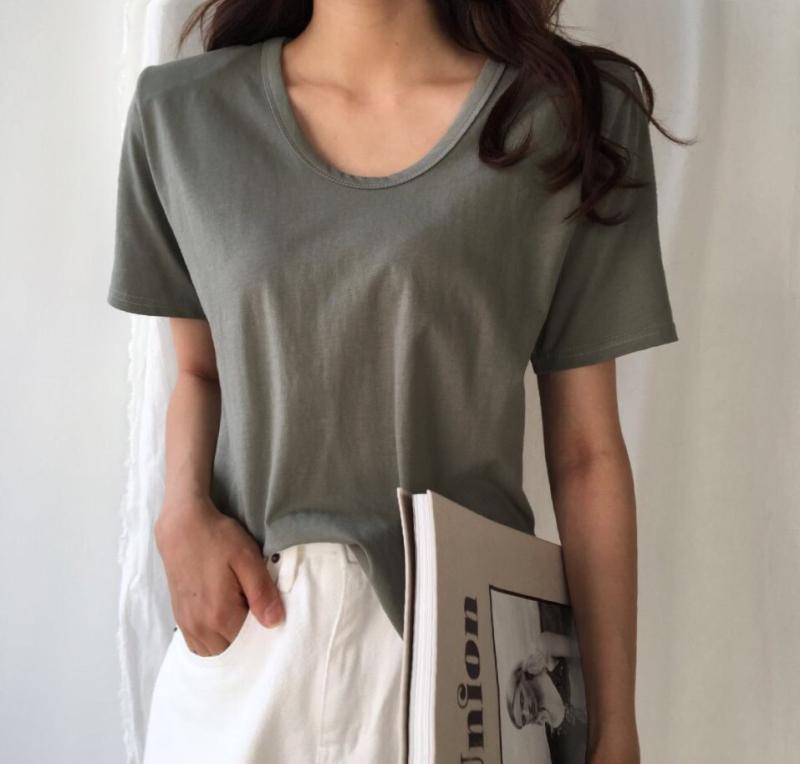 Q家韩国东大门进口女装 简单显瘦垫肩短袖圆领T恤打底衫 特
