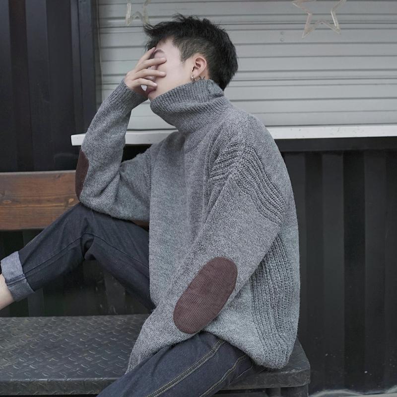 冬季日系复古灯芯绒拼接加厚高领毛衣男潮流针织衫宽松套头毛线衣