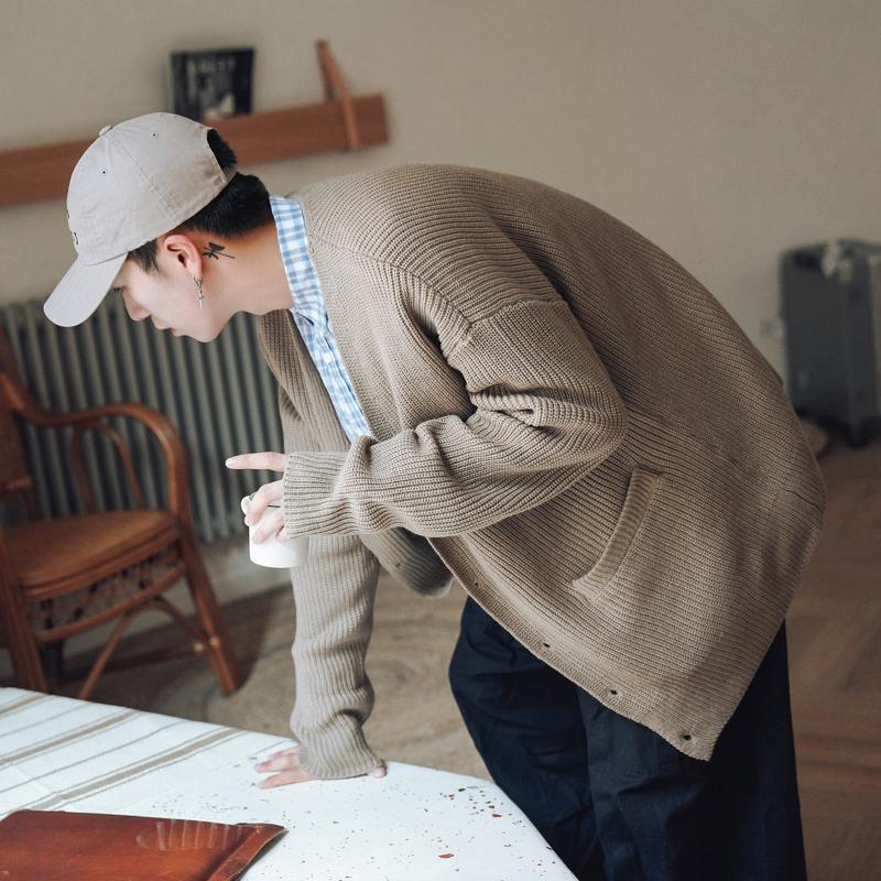 第四十九天春秋季纯色V领开衫男士针织衫潮流毛衣外套宽松毛线衣