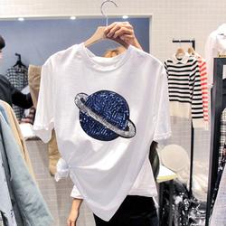 白色t恤春秋女装纯棉上衣短袖夏季打底衫2020年新款宽松大码ins潮
