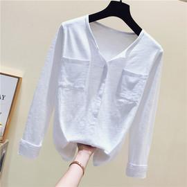 2020年春秋装新款冬季宽松百搭长袖t恤女白色竹节棉打底衫上衣潮