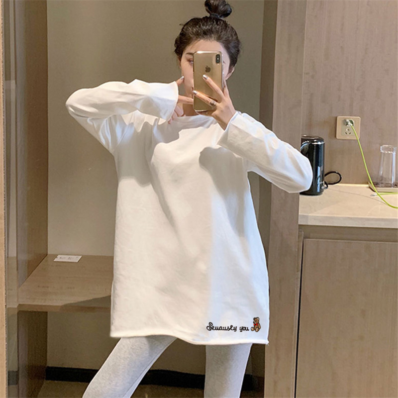 Pure cotton white T-shirt women's long sleeves, spring and autumn, 2021 new bottoming shirt, mid-length loose top