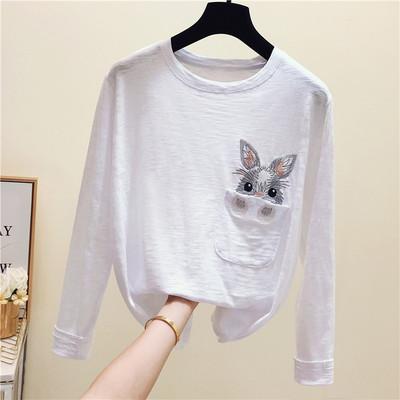 2020春装新款韩版大码宽松秋季竹节棉长袖白色T恤女兔子刺绣上衣