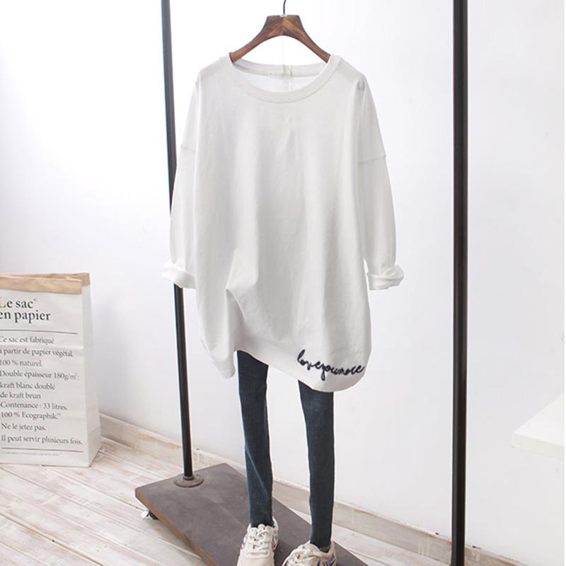 加绒打底衫内搭白色长袖T恤女2020年秋冬圆领宽松中长款刺绣上衣