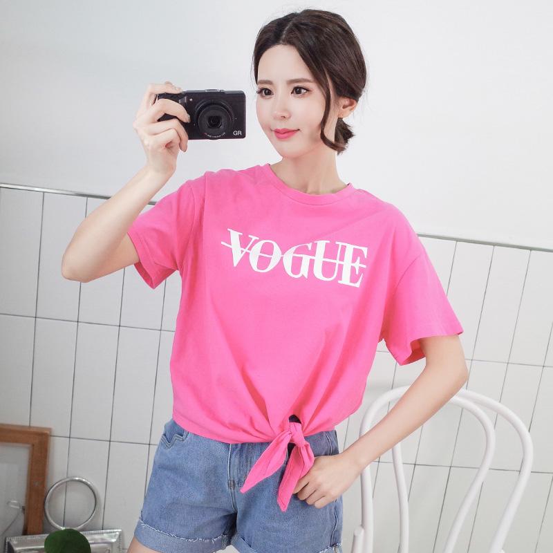 2020韩版女装时尚简约下摆开叉打结字母印花短袖T恤大码宽松上衣